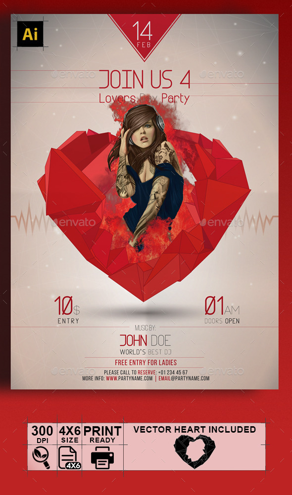 GraphicRiver Valentine Heart Flyer 9946266