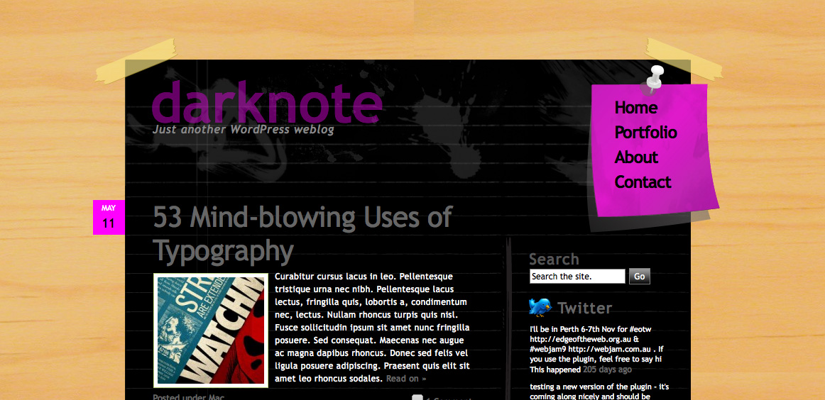 DarkNote - Home page in pink color scheme.