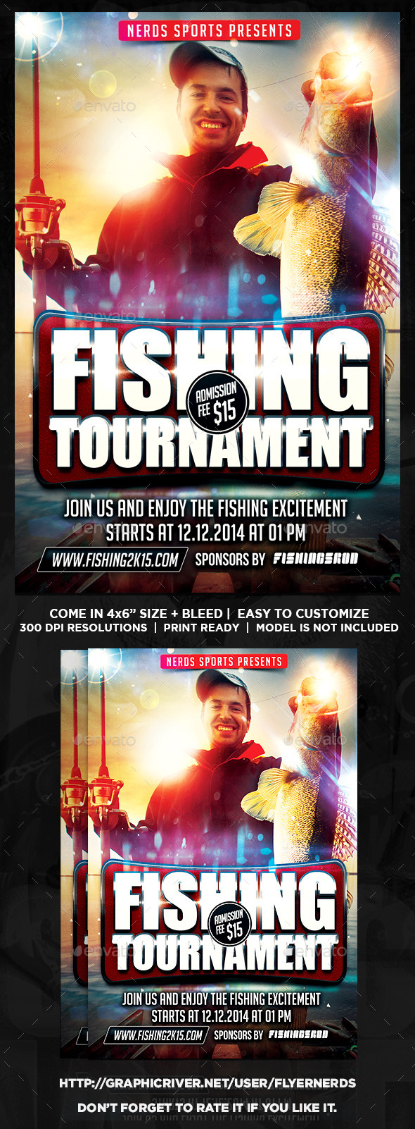 GraphicRiver Fishing 2K15 Tournament Sports Flyer 9947786