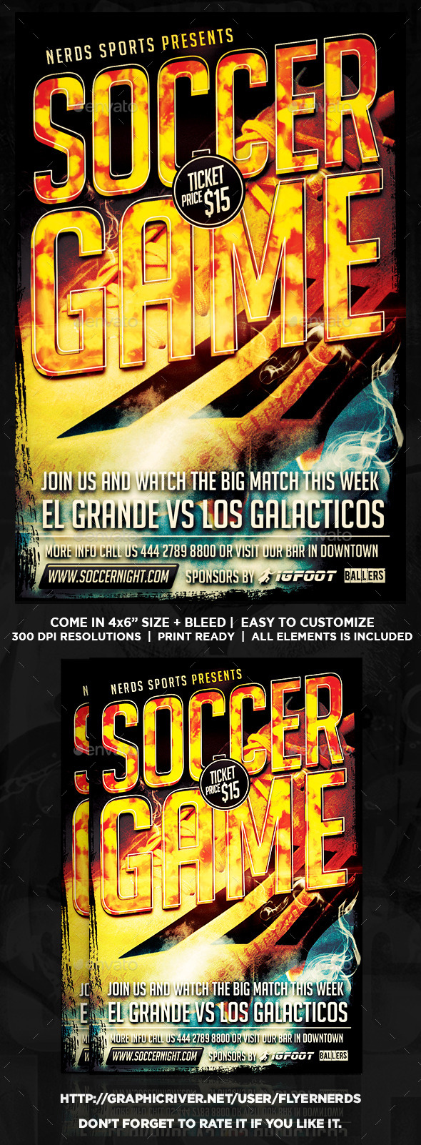 GraphicRiver Soccer Game 2K15 Sports Flyer 9947935