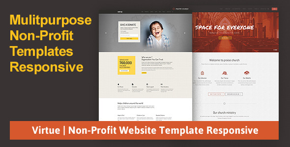 Virtue | Non-Profit Website Template Responsive Download