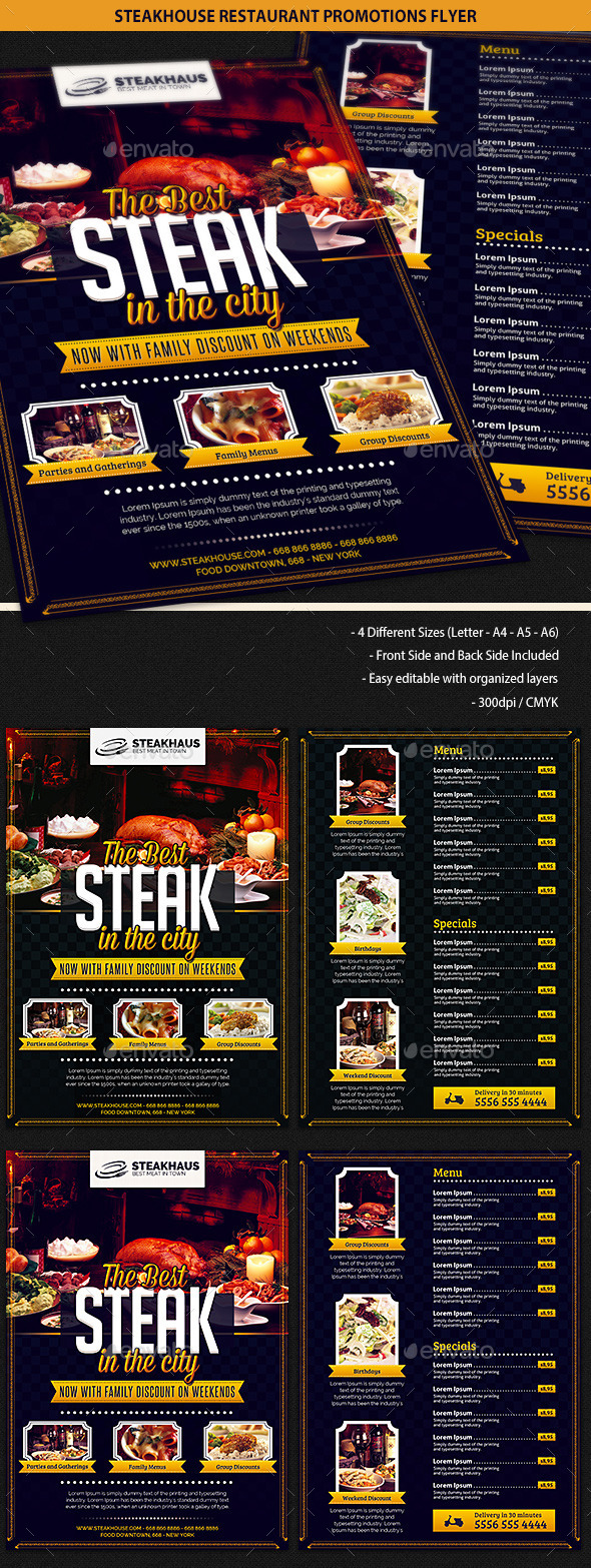 GraphicRiver Steakhouse Restaurant Promotions Flyer 9948559