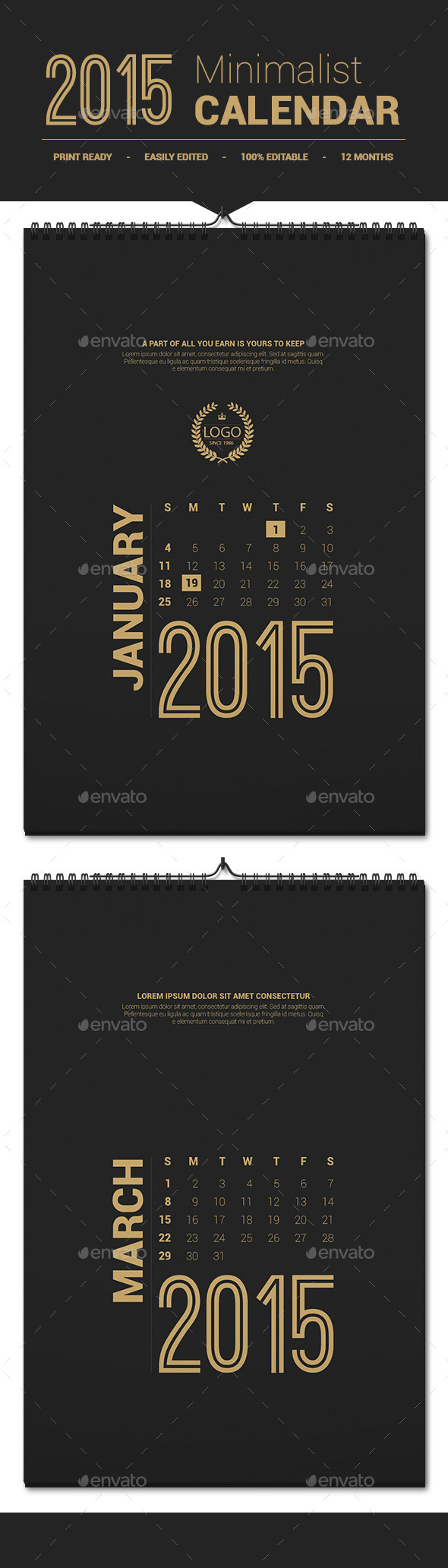 GraphicRiver Minimalist Calendar Template 2015 9942631