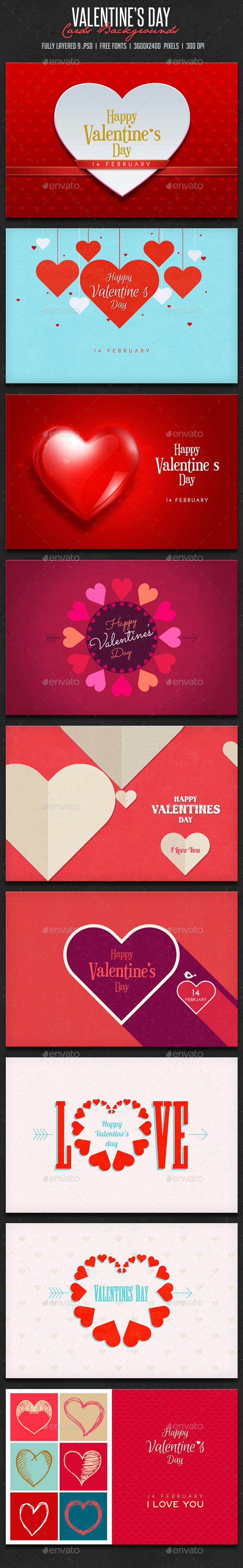 GraphicRiver Valentine s Day CardsBackgrounds 9948610
