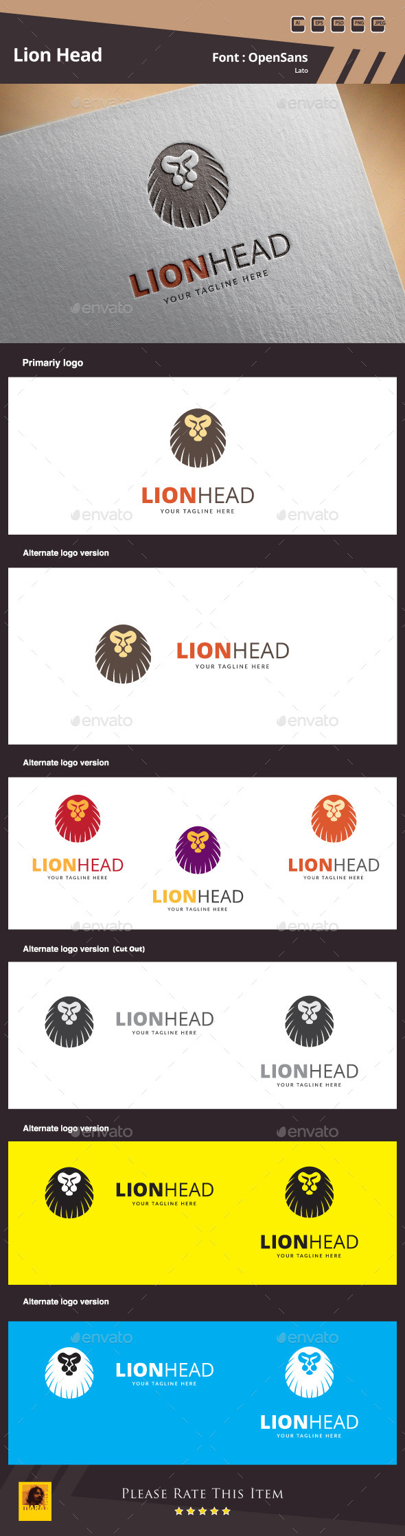 GraphicRiver Lion Head Logo Template 9949378