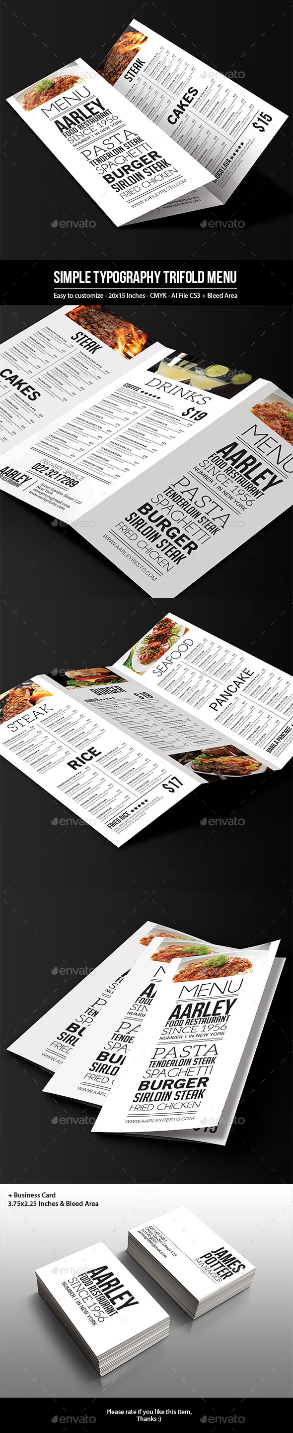 GraphicRiver Simple Typography Trifold Menu 9949696