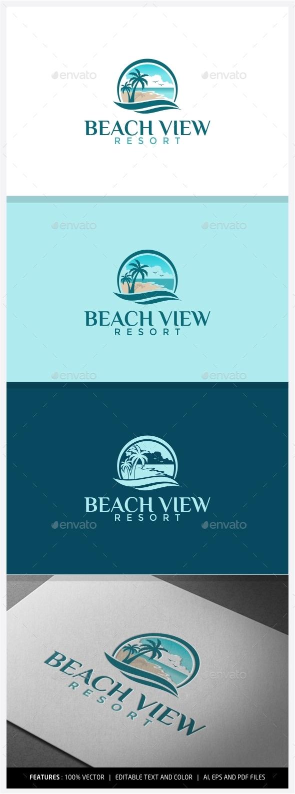 GraphicRiver Beach View Resort Logo 9949790