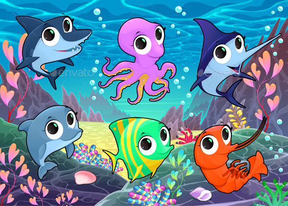 GraphicRiver Marine Animals in the Sea 9949829