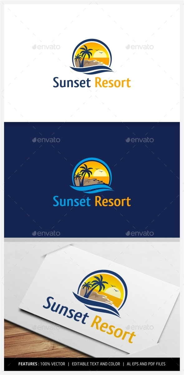 GraphicRiver Sunset Resort Logo 9950266