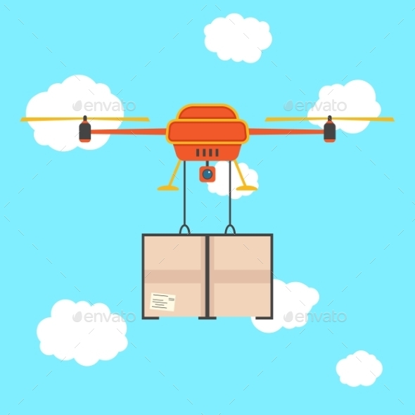 GraphicRiver Red Quadrocopter with Cargo in the Sky 9950480