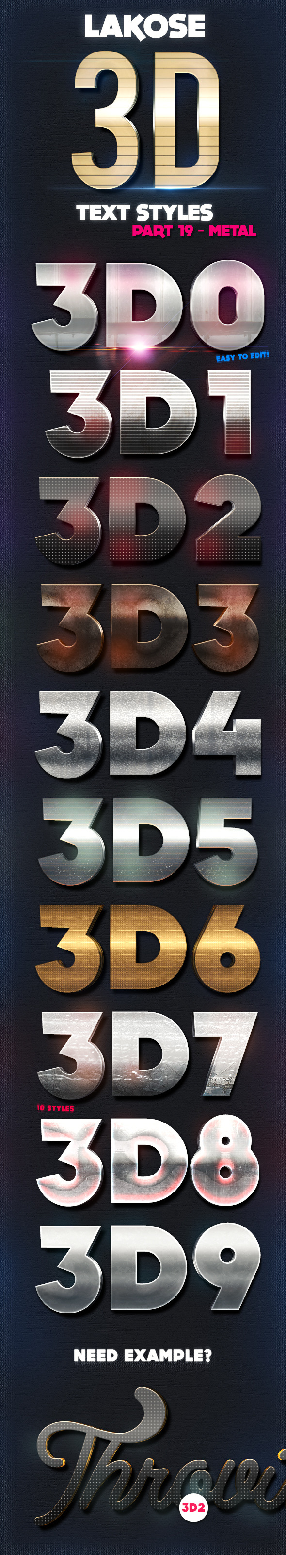Lakose 3D Text Styles Part 19