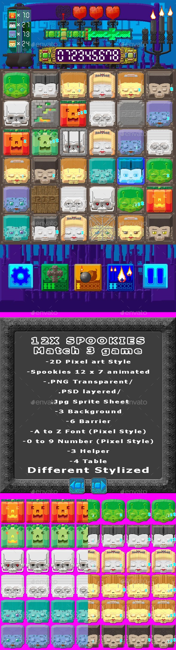 GraphicRiver 12X Spookies Match 3 Game 9951242