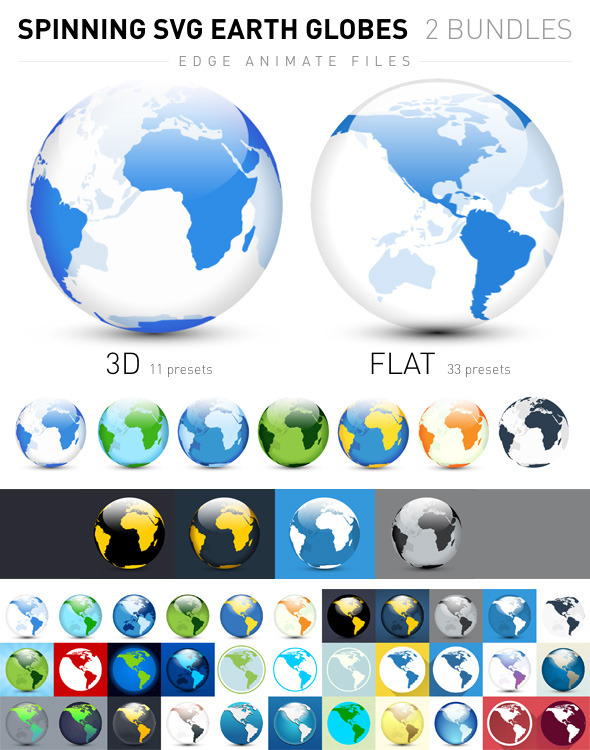Spinning SVG Earth Globes: Flat and 3D - CodeCanyon Item for Sale
