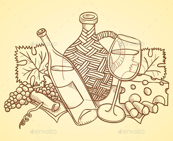GraphicRiver Wine Themed Drawing 9951377