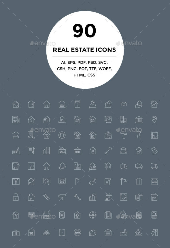 GraphicRiver 90 Real Estate Icons 9951398