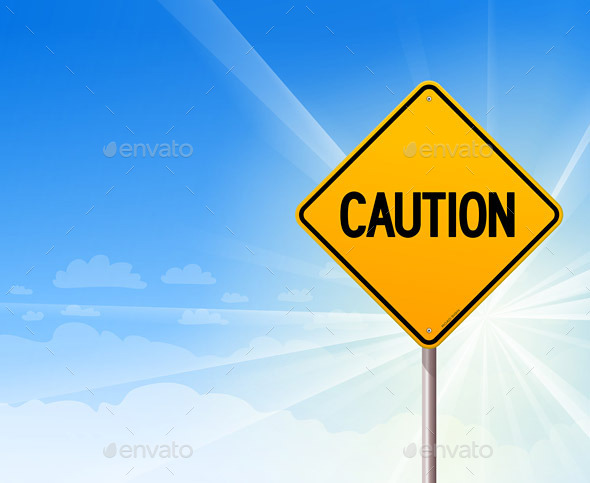 GraphicRiver Caution on Blue Sky Background 9951400