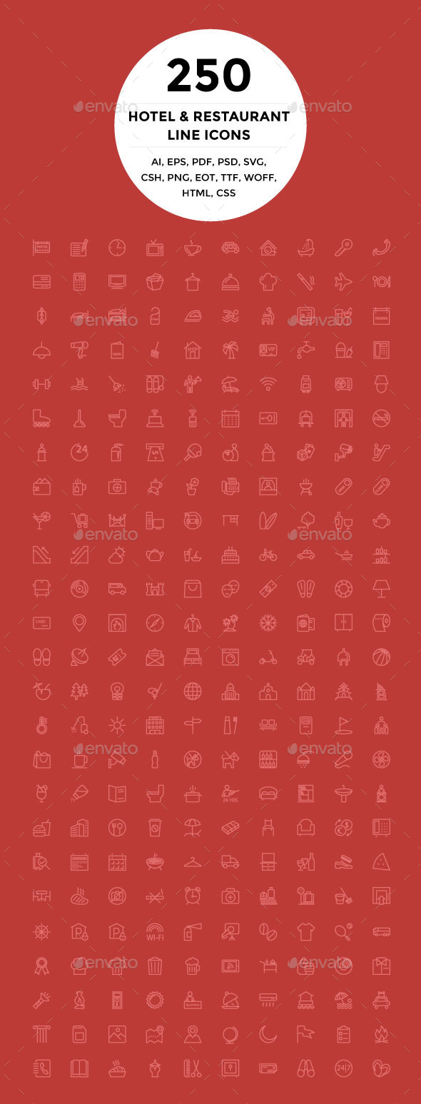 GraphicRiver 250 Hotel and Restaurant Line Icons 9951455