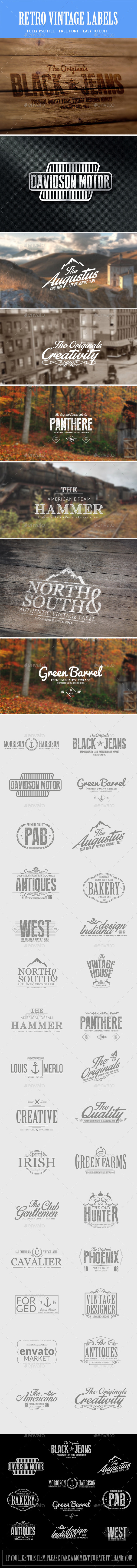 GraphicRiver Vintage Retro Badges Bundle 9951510
