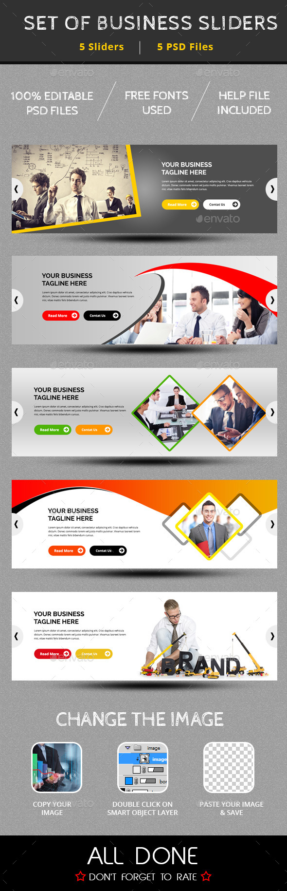 GraphicRiver Set Of 5 Business Sliders 9951632