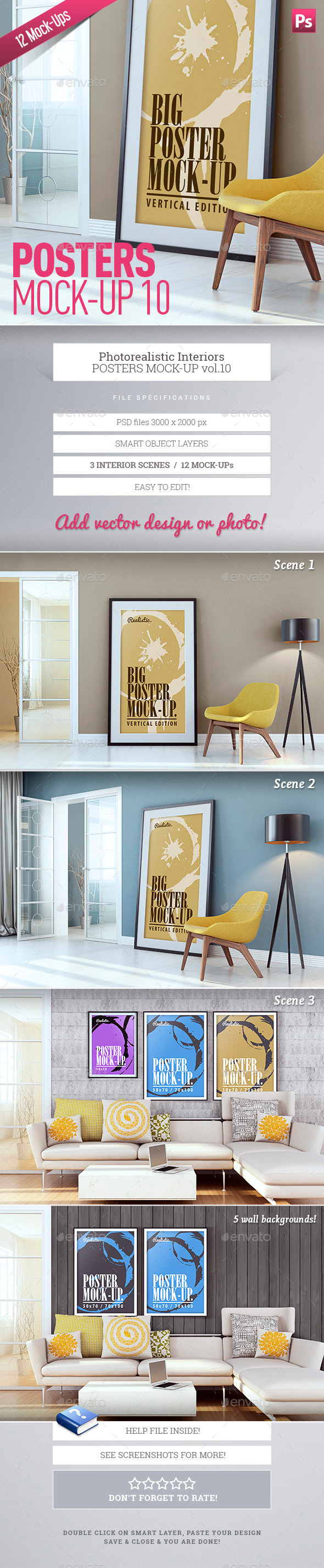 GraphicRiver Posters Mock-Up vol.10 9951680