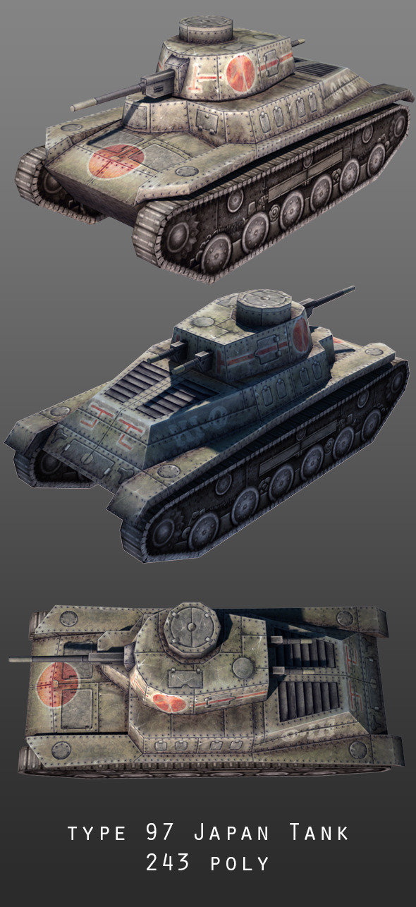Type 97 Japan Tank - 3DOcean Item for Sale