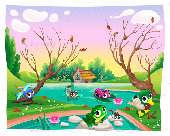 GraphicRiver Animals in the Pond 9952695