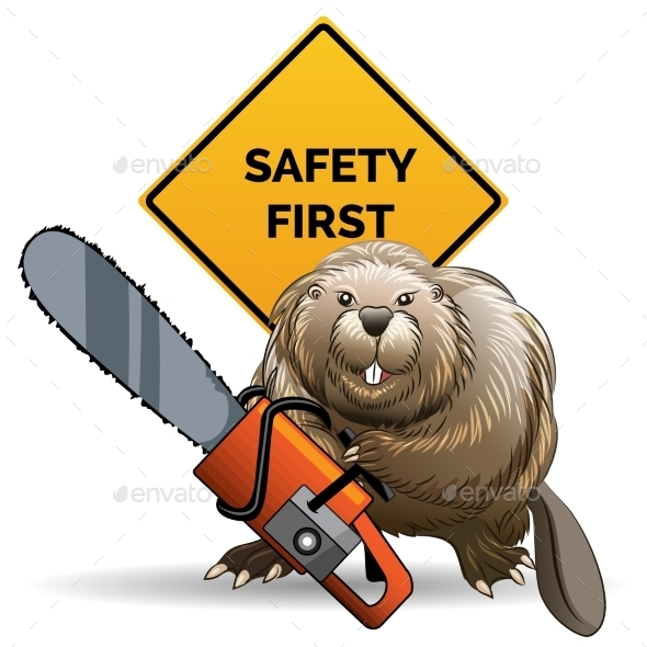 GraphicRiver Beaver with a Chainsaw 9952957