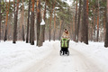 Young mother with baby carriage in winter forest - PhotoDune Item for Sale