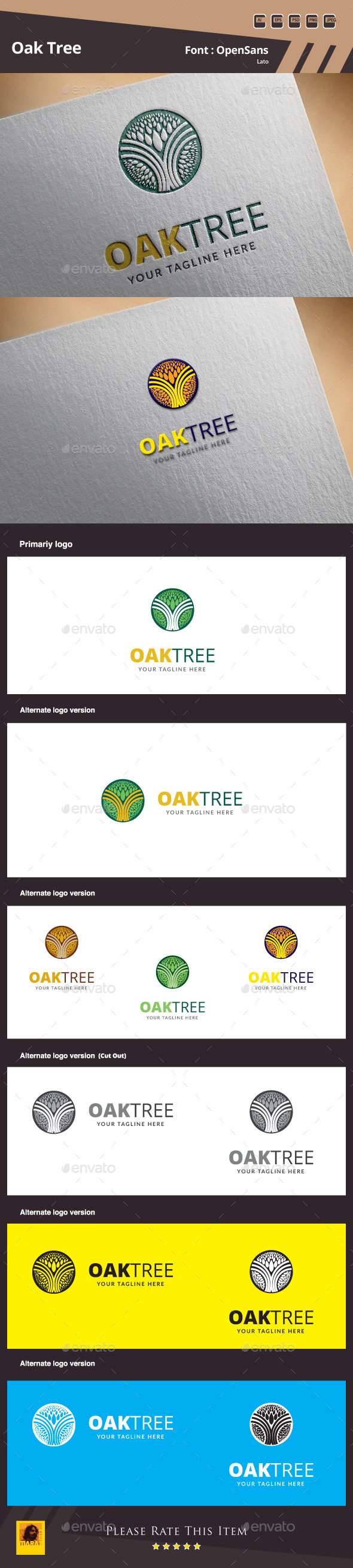 GraphicRiver Oak Tree Logo Template 9953305