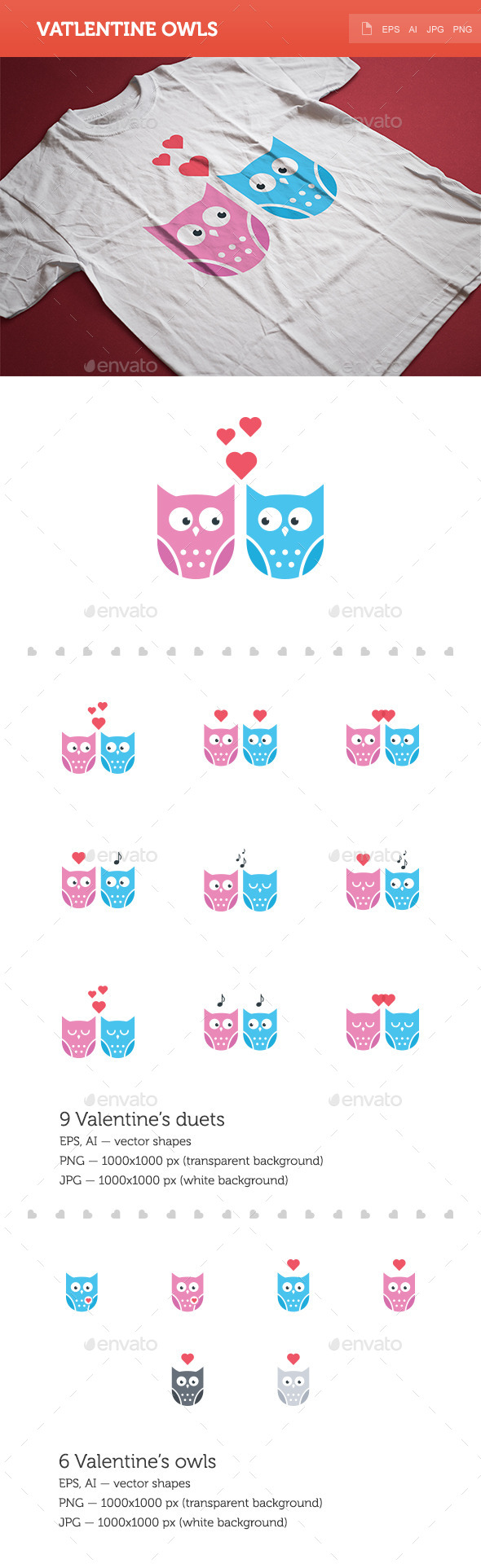 GraphicRiver Valentine Owls 9953308