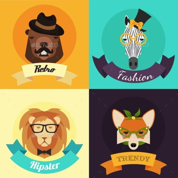 GraphicRiver Set of Fashion Hipster Animals 9953315