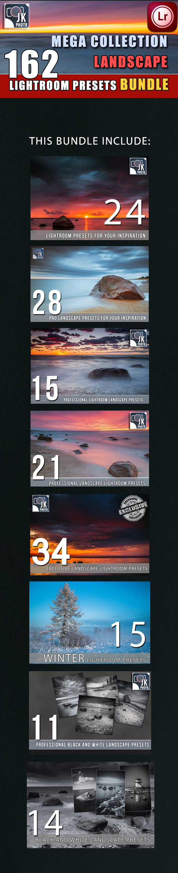 GraphicRiver 162 LightRoom Landscape Presets Bundle 9953331