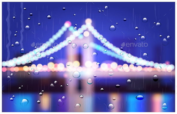 GraphicRiver City Bridge in the Rain 9953343
