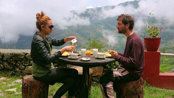 Tourist Couple Eating Breakfast Himalayan Mountain