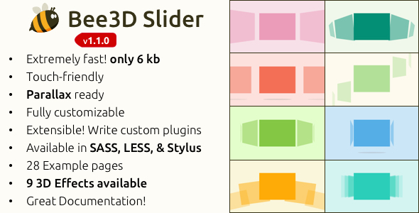 Bee3D Slider Touch-Enabled Pure JS Plugin