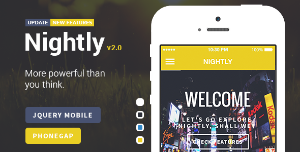 Nightly | A Bold jQuery Mobile Template Download