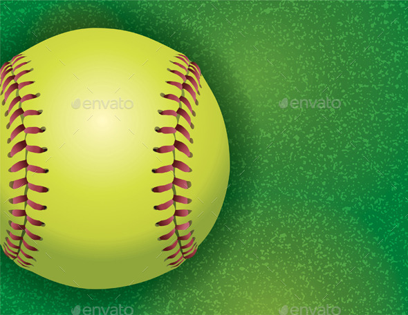 GraphicRiver Softball on a Textured Grass Field 9953698