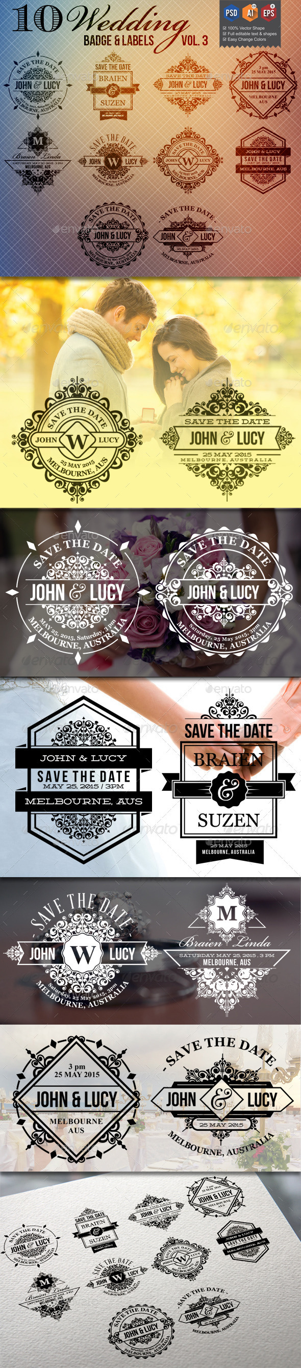 GraphicRiver 10 Wedding Badge Labels v3 9953780