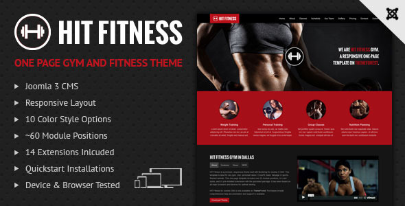 Hit Fitness & Gym One Page Joomla Theme