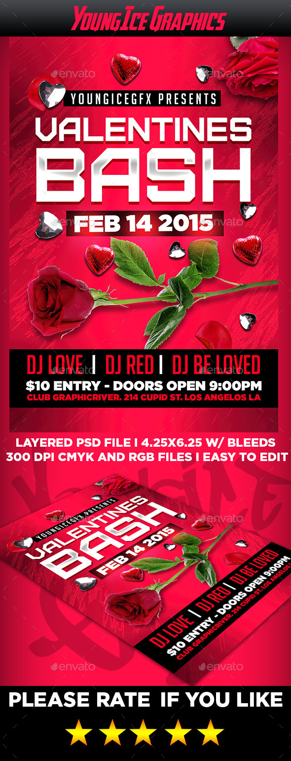 GraphicRiver Valentines Bash Flyer Template 9953902