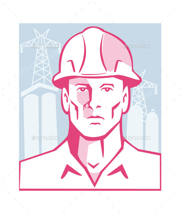 GraphicRiver Construction Engineer Worker Hardhat 9953974
