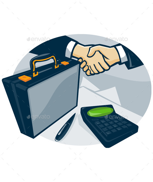 GraphicRiver Business Handshake Deal Briefcase Retro 9954255