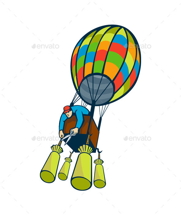 Man Cutting Ballast Hot Air Balloon
