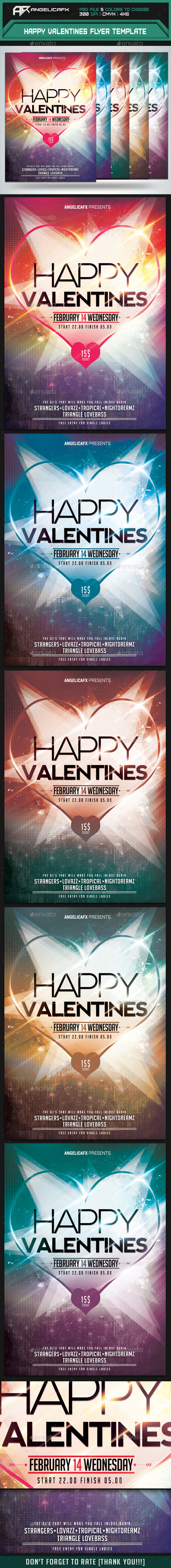 GraphicRiver Happy Valentines Flyer Template 9954536