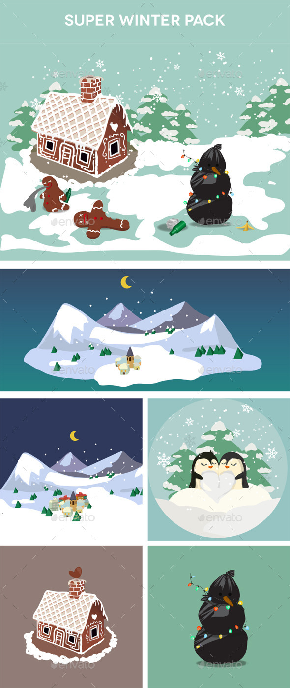 GraphicRiver Winter stickers pack 9940159