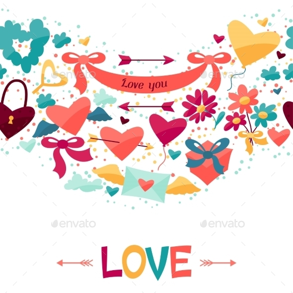 GraphicRiver Pattern with Valentine s and Wedding Icons 9954796