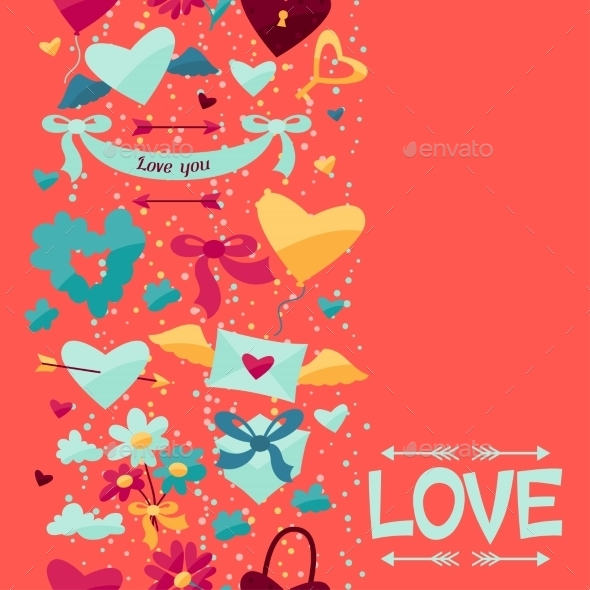 GraphicRiver Pattern with Valentine s and Wedding Icons 9954800