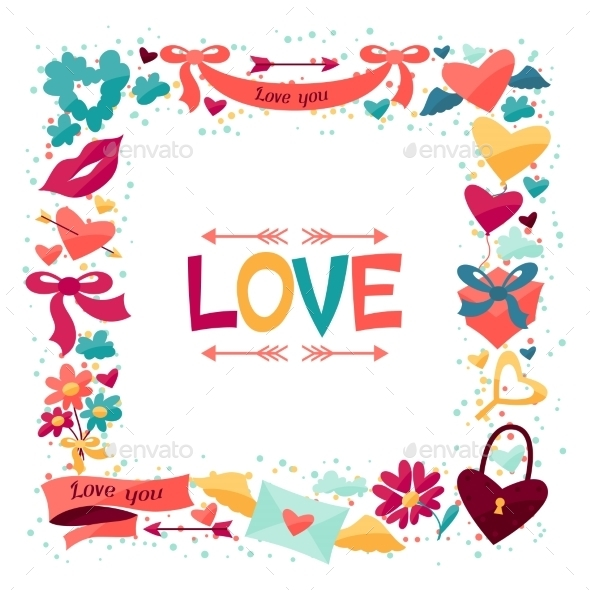 GraphicRiver Background with Valentine s and Wedding Icons 9954801