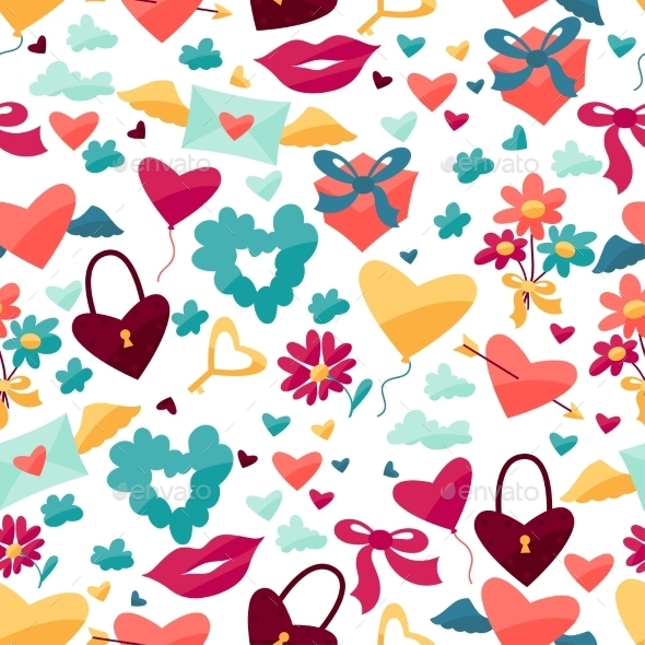Pattern with Valentine s and Wedding Icons