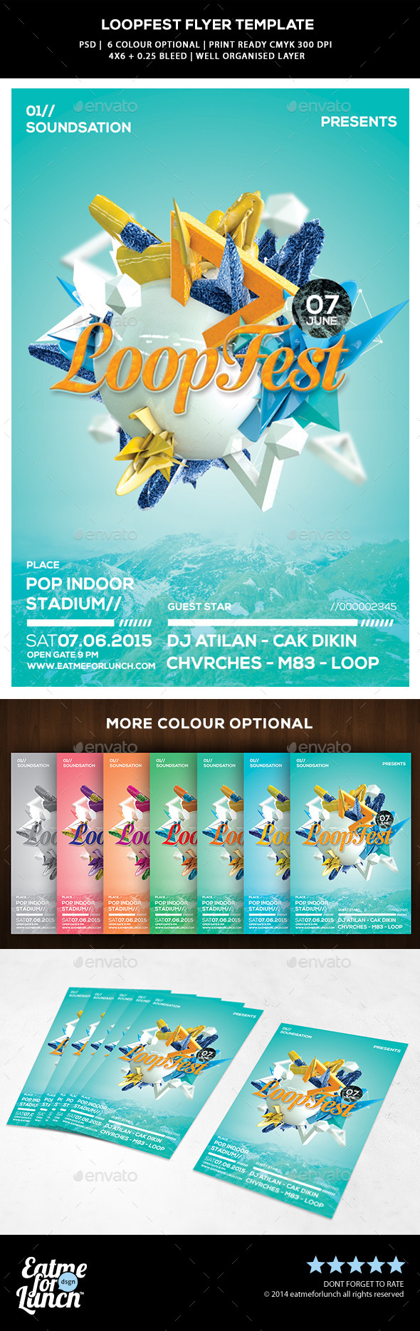 GraphicRiver Pop Abstract Flyer Template Loop Fest 9954938